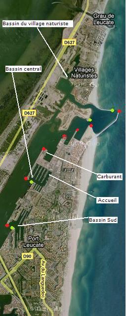 Vue satellites des bassins du port de Leucate, accès aux bassins